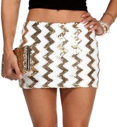 Gold/Ivory Chevron Sequin Mini Skirt