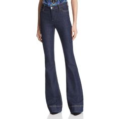 Alice + Olivia Kayleigh Bell Bottom Jeans in Dark Indigo ($265) ❤ liked on Polyvore featuring jeans, dark indigo, high-waisted jeans, retro high waisted jeans, high waisted bell bottoms, retro jeans and rock jeans