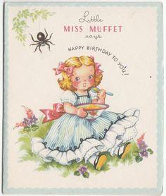 Vintage Unused Little Miss Muffet Birthday Greeting Card