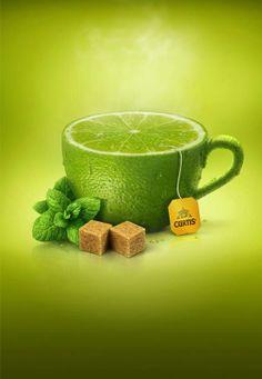 Anuncios creativos de té de frutas, espectaculares.