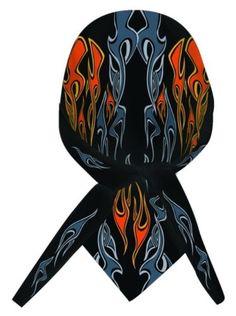 1 of 1 - Black Orange Grey Flames Head Wrap Sweatband Durag Capsmith Biker
