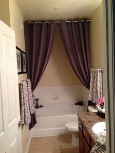 Bathroom Shower Curtain Ideas Elegant Great Way to Hide Empty Space Above & Around An Awkwardly Placed Garden Tub Here I Used A Modern Shower Curtains, Bathroom Shower Curtains, Shower Window, Rental Bathroom, Guest Bathrooms, Diy Bathroom Decor, Bathroom Ideas, Bathroom Pictures, Tuscan Bathroom
