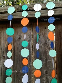 Rainbow Fish Paper Circle Garland- Teal, Aqua, Orange, Blue, Pearl Shimmer White  Under the Sea Boys Birthday Invitations Fishing Birthday Invitation Aqua, Orange, Blue, Teal Party Decor