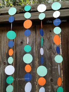 Rainbow Fish Paper Circle Garland- Teal, Aqua, Orange, Blue, Pearl Shimmer White  Under the Sea Boys Birthday Invitations Fishing Birthday Invitation Aqua, Orange, Blue, Teal Party Decor