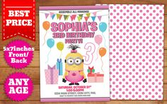 This Instant Downloadable is for a Girl Minion Birthday Invitation Template in Photoshop (PSD).  Our templates are designed to to be easy and
