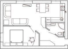 Дизайн интерьра квартиры 42 кв. м Small Floor Plans, Cottage Floor Plans, Modern House Plans, Small House Plans, House Floor Plans, Tiny Spaces, Small Apartments, Lofts, Apartment Plans