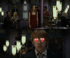 At Bill and Fleur's wedding, Ron could barely take his eyes off Hermione. It was adorable.