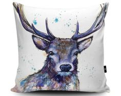 Deer Pillow, Deer Cushion, Stag Pillow, Stag Cushion, Regal Blue Stag Cushion, Stag gift, Scottish pillow, Doe, Vegan Suede Cushion