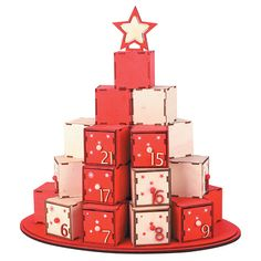 24 Draw Christmas Wooden Advent Calendar