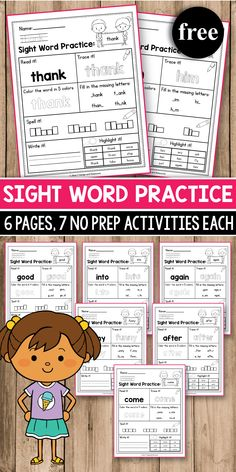 Sight Word Practice for preschool, kindergarten, first Grade - Sight Word Worksheets and Activities. It includes FREE Dolch sight word practice worksh. Teaching Sight Words, Sight Word Practice, Sight Word Games, Sight Word Activities, Learning Activities, Toddler Activities, Sight Words Printables, Sight Word Worksheets, Kindergarten Sight Words Printable
