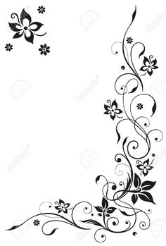 Abstract, floral tendril, black vector