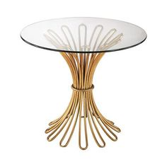 Flaired Rope Side Table In Gold Leaf And Clear Glass - 1114-204
