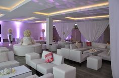 A beautiful lounge area at a wedding we designed in The Europe Hotel, Killarney. The white sofas are cool and comfy and look great in any setting