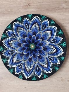 Beautiful blue waterlily come in mandala dots on plate. Perfect for door decor,wall or corner table and never bad idea for present. Made by unique methode of dotting making this piece so alive . In person the color so vibrant bringing the good energy wh Mandala Art, Mandala Design, Mandala Bleu, Mandala Canvas, Mandala Drawing, Mandala Painting, Mandala Pattern, Dot Art Painting, Pottery Painting
