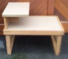 Mid Century Modern Cheap Blond Oak & Formica Step End Table MCM  | eBay