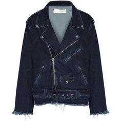 Marques' Almeida Oversized frayed denim biker jacket (3.300 DKK) ❤ liked on Polyvore featuring outerwear, jackets, marques'almeida, denim jackets, blue motorcycle jacket, blue biker jacket, oversized jacket and rider jacket