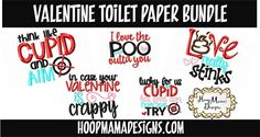Valentine's Day Toilet Paper Roll Bundle - Embroidery & Cutting