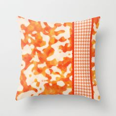 Camo & Houndstooth-Nectarine Throw Pillow