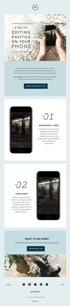 4 Tips For Editing Photos On Your Phone - Really Good Emails Editing Photos, Photo Editing, Email Design Inspiration, Design Ideas, Email Marketing Design, Best Email, Email Campaign, Phone, Universe