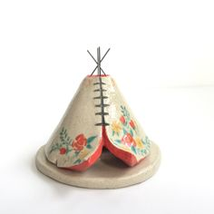 Incense Burner TeePee that smokes, Ceramic Floral Design, Native American Indian Aztec Design, Stoneware Clay Pottery, Unique Yogi Gift by HicklinHomestead on Etsy