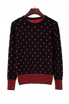 Polka Dot Sweater with Stripe Details. Use coupon code: pinterest to receive 20% off your order