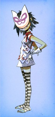 Here is a place where I will post all of the official Gorillaz art. I claim none of this art and it is all created by Jamie Hewlett. I will NOT be posting any fan art (including edits). Gorillaz Art Style, Art Gorillaz, Gorillaz Noodle, Damon Albarn, Tank Girl, Gorillaz Plastic Beach, Blur, Jamie Hewlett Art, Cat Mask