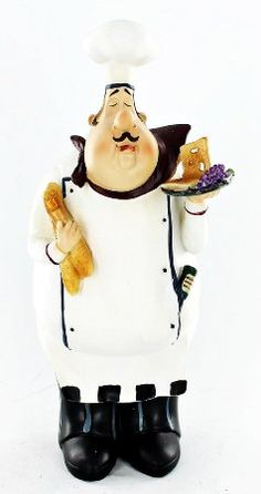Fat Chef Kitchen Statue Table Top Art Figure Holding Fruit Plate X64151