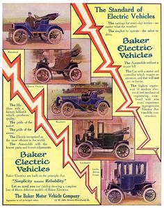 The Baker Motor Vehicle Company advertises its fleet of electric cars.1908