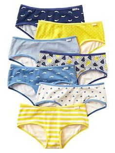 Girls underwear with whales on it! WHALES! Awesome! And stripes, polka dots, and sailboats (one pair does have hearts, which my daughter wouldn't wear but yours might). From Gap. Only sizes that are still available are XS, S, and M.