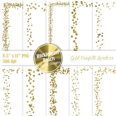 80% OFF SALE Gold Confetti Clipart Confetti Borders Confetti