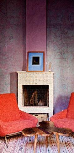 Zellij fireplace from a suite in tadelakt from Riad El Fenn in Marrakech.