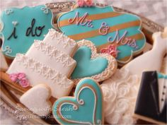 Engagement Cookie Platter Wedding Cookies Blue White Gold