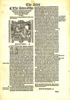 1537 Matthew-Tyndale Bible First Edition : Title to Acts