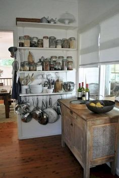Kitchen, Storage Solutions For Small Kitchen Design With Hanging Kitchen Pots And Pans Under DIY Wood Wall Mounted Shelves Beside Rustic Island Ideas ~ Storage Solutions for Small Kitchens Kitchen Wall Storage, Small Kitchen Organization, Kitchen Storage Solutions, Kitchen Shelves, Organized Kitchen, Wall Pantry, Open Kitchen Cabinets, Ikea Kitchen, Kitchen Interior