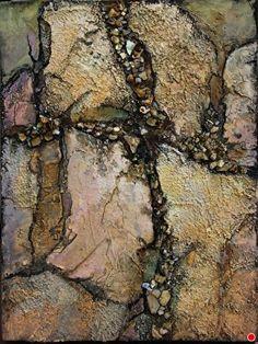 Crevice, 050415 by Carol Nelson mixed media ~ 8 x 6