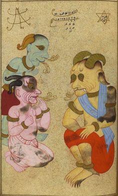 Le démon al-malik al-abyad « le roi blanc » associé au lundi, à la Lune, et à l'argent. Mehmed ibn Emir Hasan al-Su'ûdî, Matâli' al-su'âda wa yanâbi' al-siyâda, Istanbul (Turquie), 1582. BnF