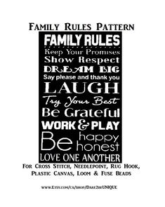 Family Rules Cross Stitch PATTERN, Rug Hooking Pattern, Plastic Canvas Needlepoint Tapestry, Crochet & Perler Pattern, DIGITAL Printable Pdf by Dare2beUNIQUE on Etsy Rug Hooking Patterns, Crochet Blanket Patterns, Quilt Patterns, Cross Stitch Needles, Cross Stitch Patterns, Family Rules Printable, Simple Prints, Perler Patterns, Fuse Beads