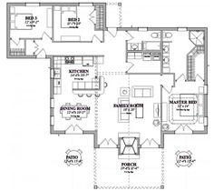 Plano de casa de fin de semana de 1 planta y 3 dormitorios