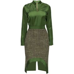 LATTORI Silky Business Chic Dress ($249) ❤ liked on Polyvore featuring dresses, green glitter dress, zipper dress, green dress, long dresses and glitter dress
