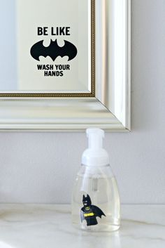 Totally making this! How cute for a Batman lover???   DIY LEGO Batman Soap | LEGO Batman DIY | Batman soap | Be Like Batman Wash Your Hands | from Hello Splendid by Jillian Warner www.hellosplendid.com