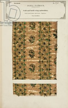 Gold and beetle wing embroidery sample from Madras, from 'The Collection of the Textile Manufacturers of India', by John Forbes Watson, published in 1866 (mixed media)