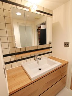LAVATORY/POWDER ROOM/TOILET/TILE/洗面室/トイレ/洗面台/洗面器/タイル/フィールドガレージ/FieldGarage INC./リノベーション Laundry Room Bathroom, Bathroom Toilets, Washroom, Apartment Goals, Powder Room, Basin, Ideal Home, House Plans, New Homes
