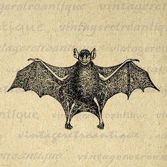 Printable Bat Graphic Download Antique Bat Illustration Image
