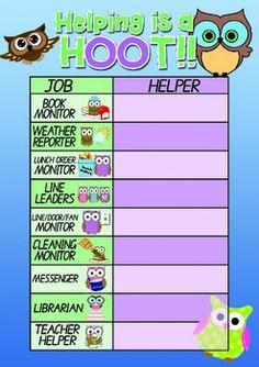 Back to School Job Chart.