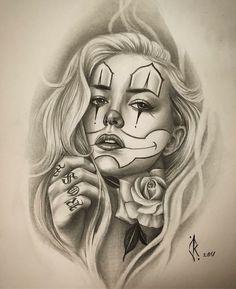 Clown Tattoo, Catrina Tattoo, Skull Girl Tattoo, Girl Face Tattoo, Girl Face Drawing, Tattoo Girls, Girl Tattoos, Dodie Tattoo, Payasa Tattoo