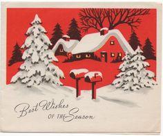 Red Snow Scene House Trees Mailbox Home VTG Christmas Greeting Card | eBay
