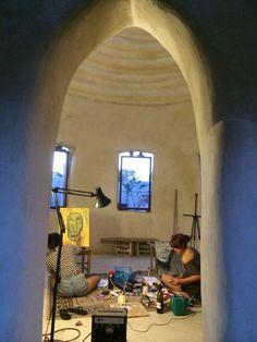 Dome life ... superadobe bedroom study under construction