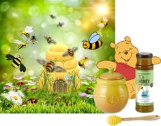 """""""Busy Bees and Happy Pooh"""" by linda-susan-felix-porter ❤ liked on Polyvore"""