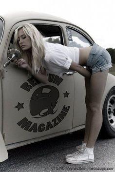 Vw beetle girl ♠... XBrosApparel Vintage Motor T-shirts, VW Beetle & Bus T-shirts, Great price