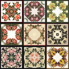 Free Tea Bag Tiles   - Tea Bag Tiles: Kaleidoscope floral patterns on Tea Bag Tiles ...